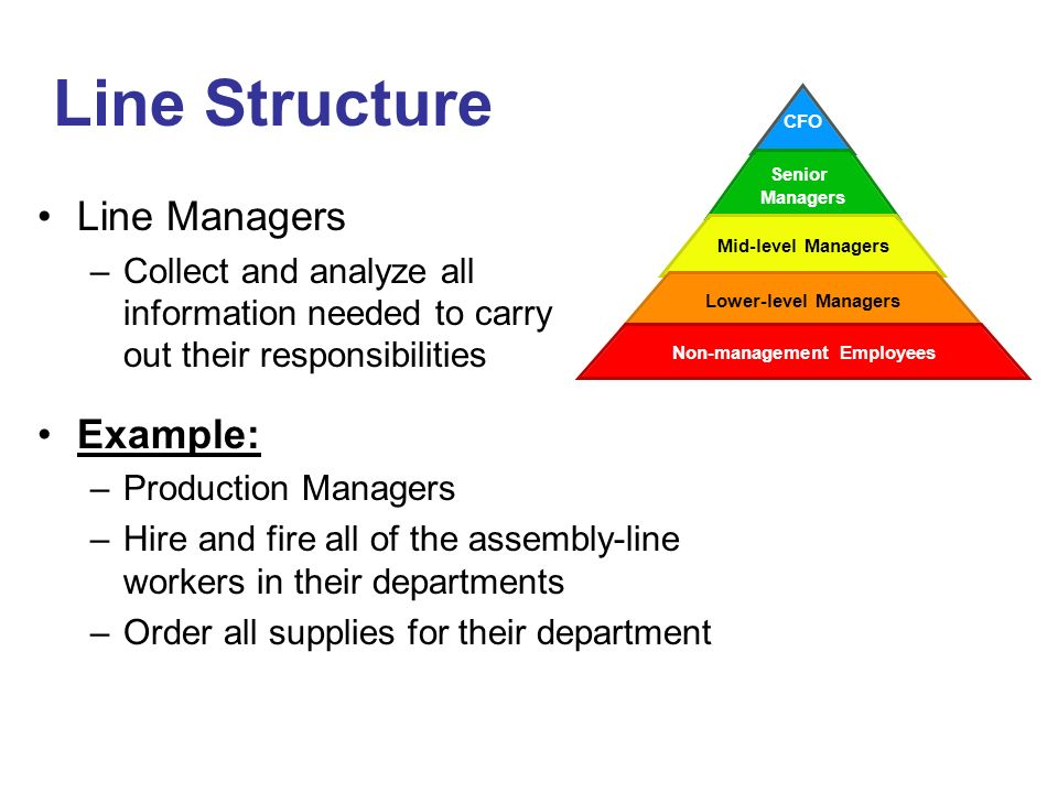 Line Structure Line Managers Example: