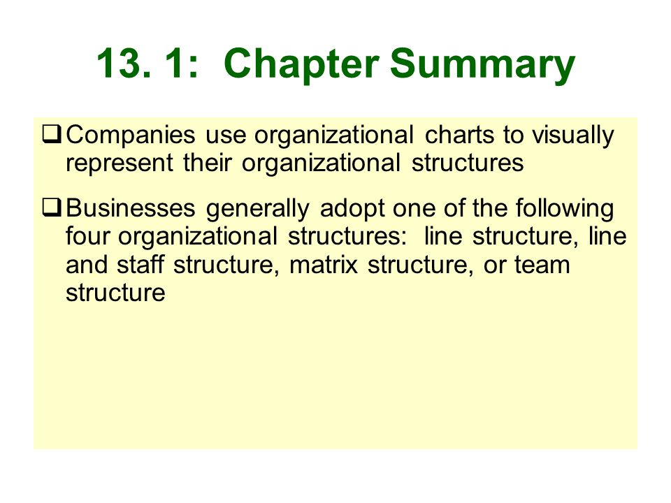 13. 1: Chapter Summary Companies use organizational charts to visually represent their organizational structures.