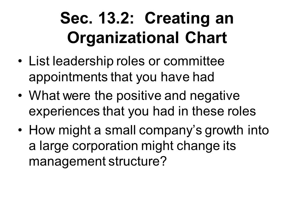 Sec. 13.2: Creating an Organizational Chart