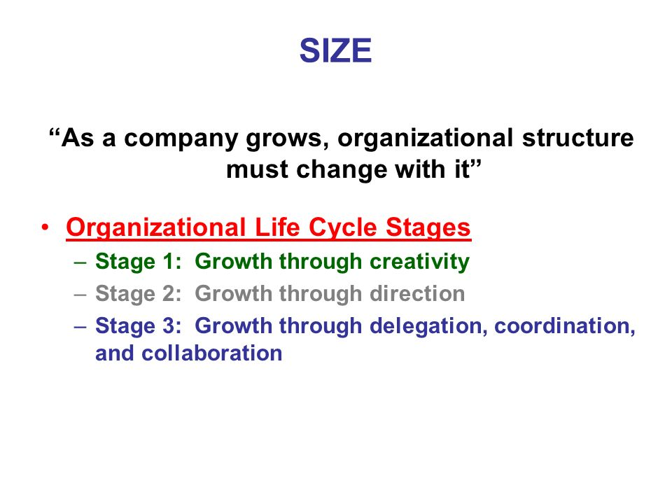 As a company grows, organizational structure must change with it