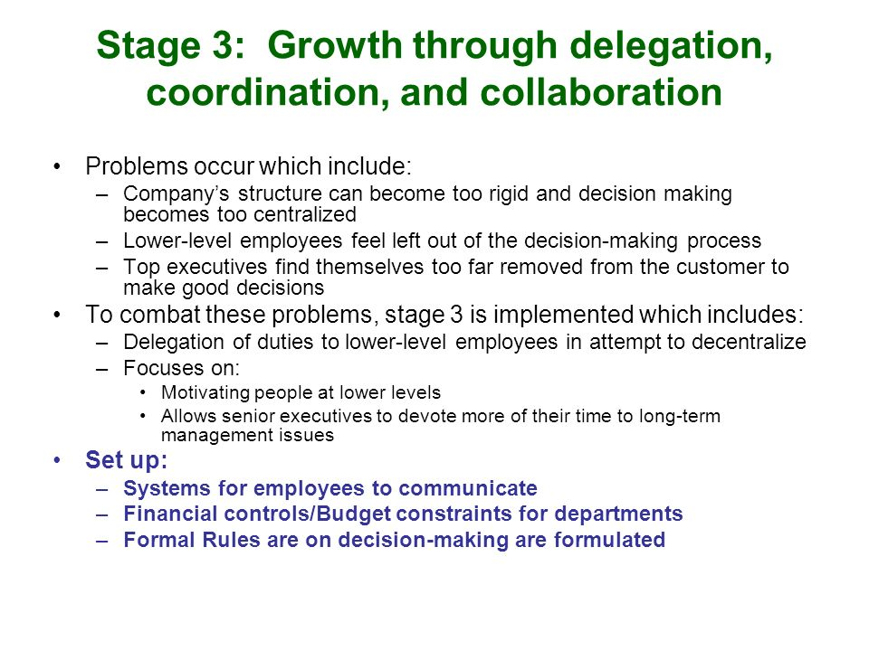 Stage 3: Growth through delegation, coordination, and collaboration