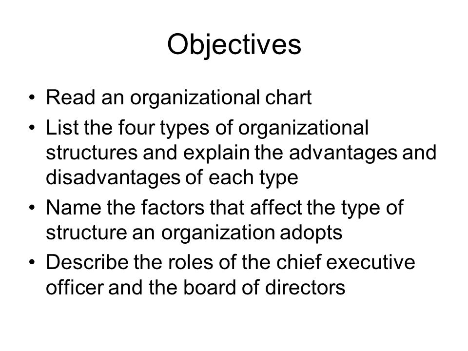 Objectives Read an organizational chart
