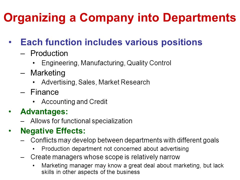 Organizing a Company into Departments