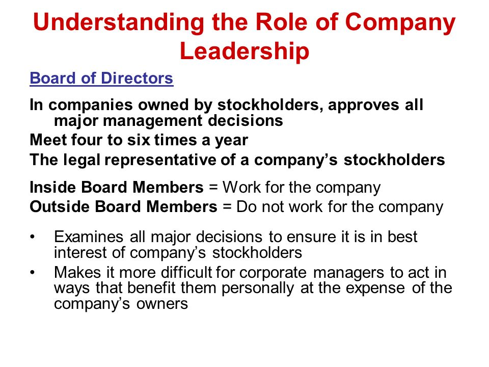 Understanding the Role of Company Leadership