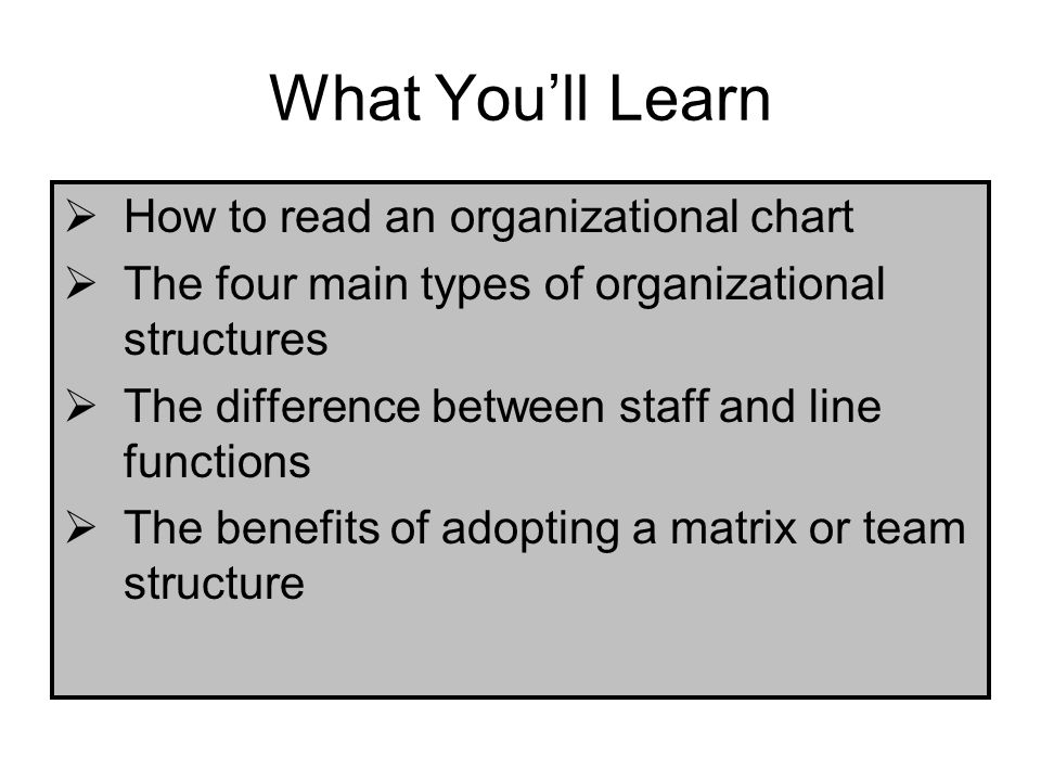 What You'll Learn How to read an organizational chart