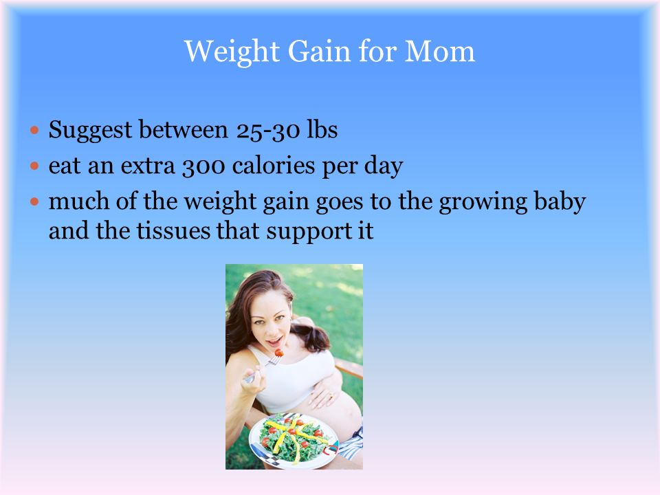 Weight Gain for Mom Suggest between 25-30 lbs