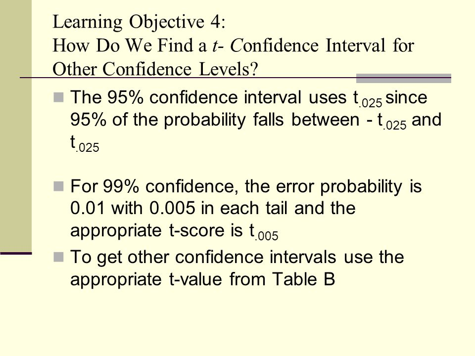Chapter 8 statistical inference confidence intervals for T table 99 confidence interval