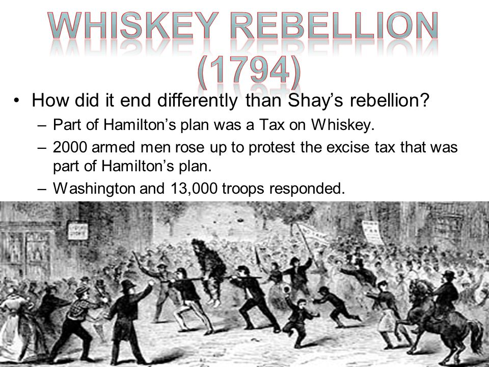 Whiskey Rebellion (1794) How did it end differently than Shay's rebellion Part of Hamilton's plan was a Tax on Whiskey.