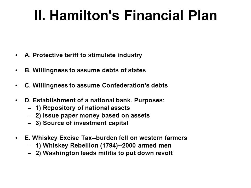 II. Hamilton s Financial Plan