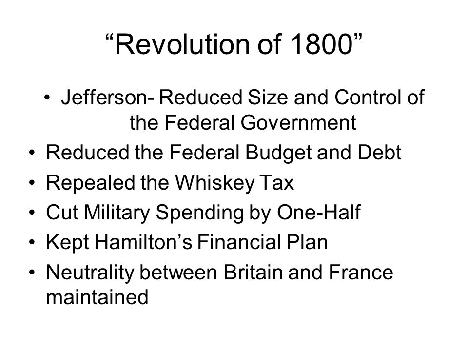 Jefferson- Reduced Size and Control of the Federal Government