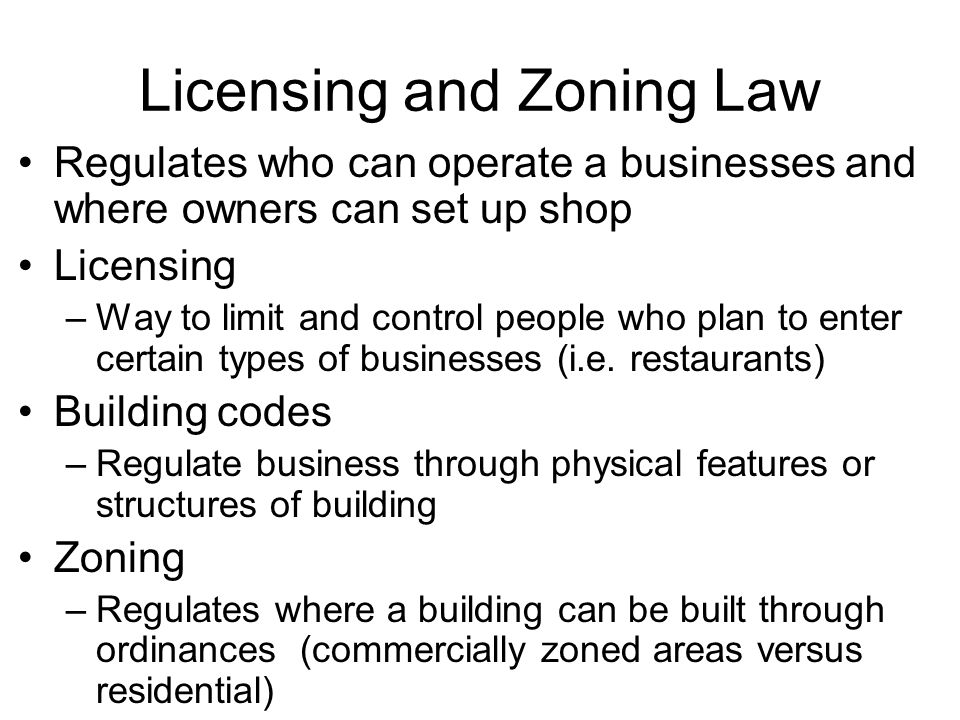 Licensing and Zoning Law