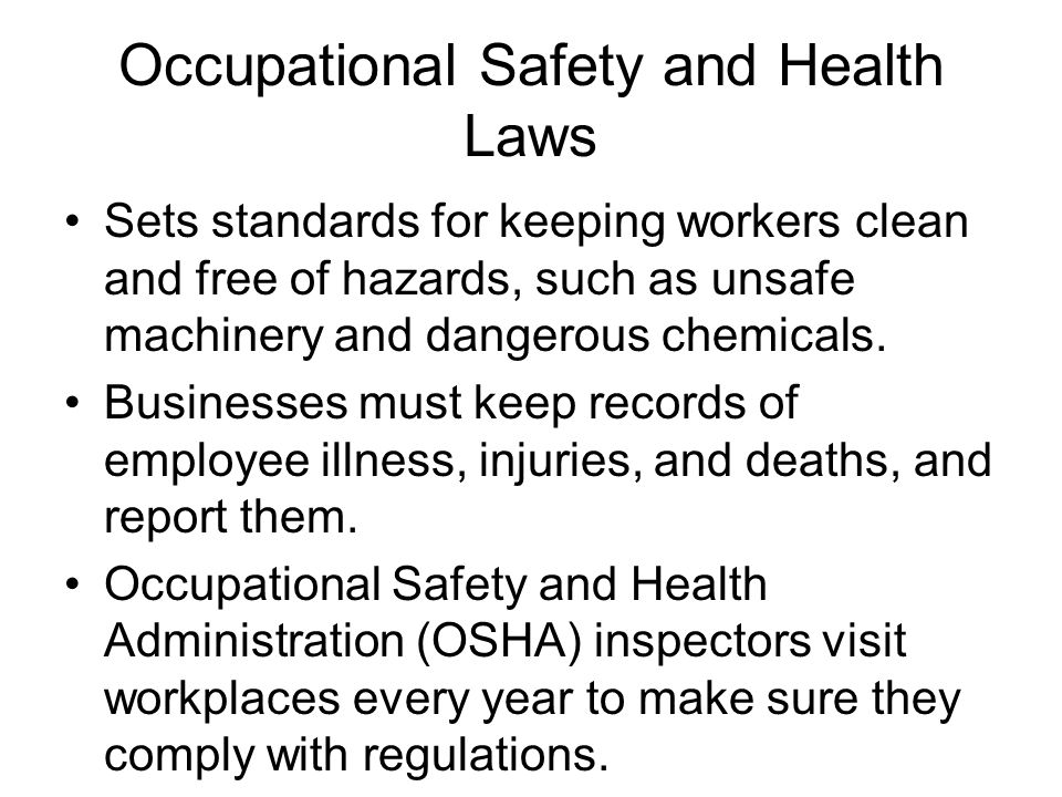 Occupational Safety and Health Laws