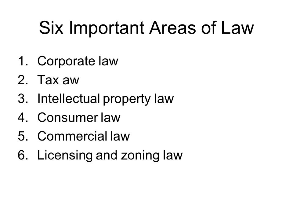 Six Important Areas of Law