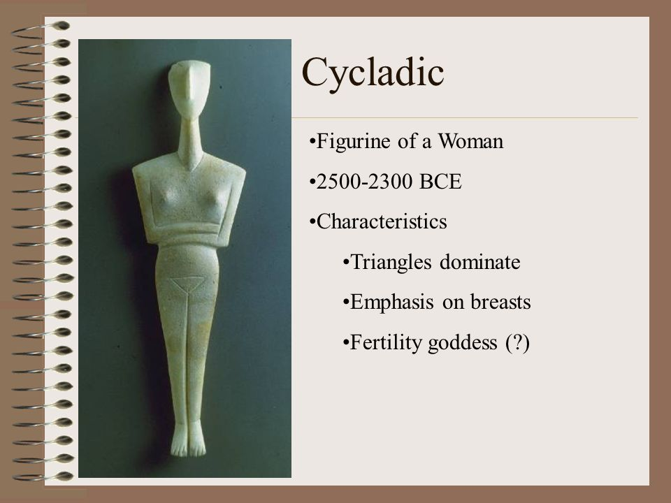 Cycladic Figurine of a Woman 2500-2300 BCE Characteristics