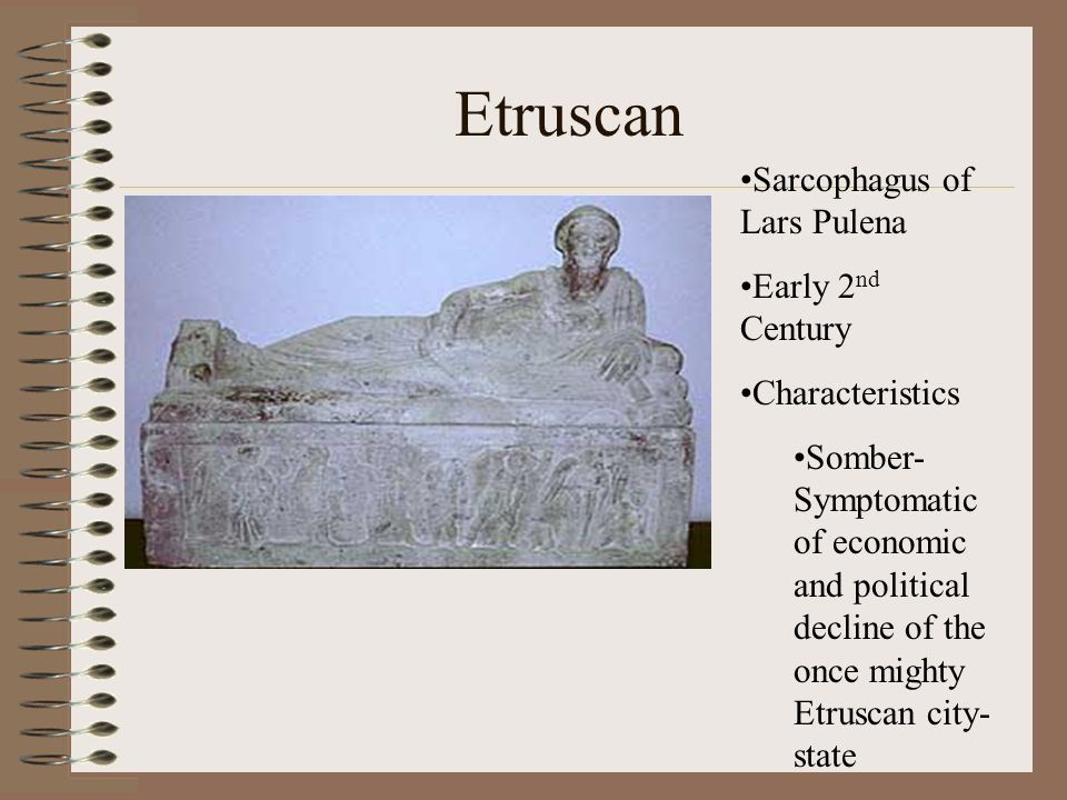 Etruscan Sarcophagus of Lars Pulena Early 2nd Century Characteristics