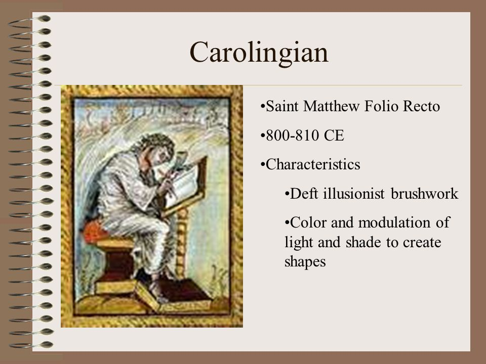 Carolingian Saint Matthew Folio Recto 800-810 CE Characteristics