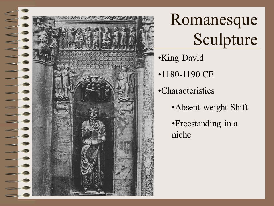 Romanesque Sculpture King David 1180-1190 CE Characteristics
