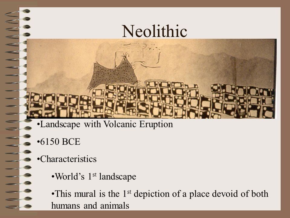 Neolithic Landscape with Volcanic Eruption 6150 BCE Characteristics