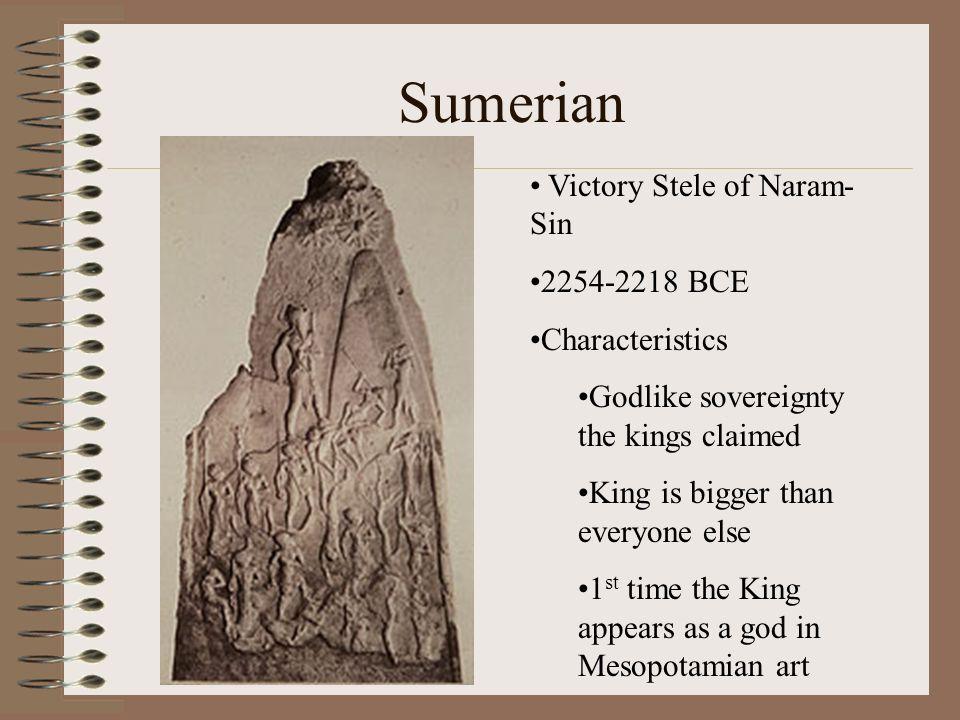 Sumerian Victory Stele of Naram-Sin 2254-2218 BCE Characteristics