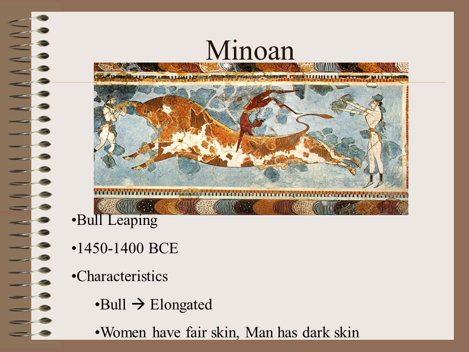 Minoan Bull Leaping 1450-1400 BCE Characteristics Bull  Elongated