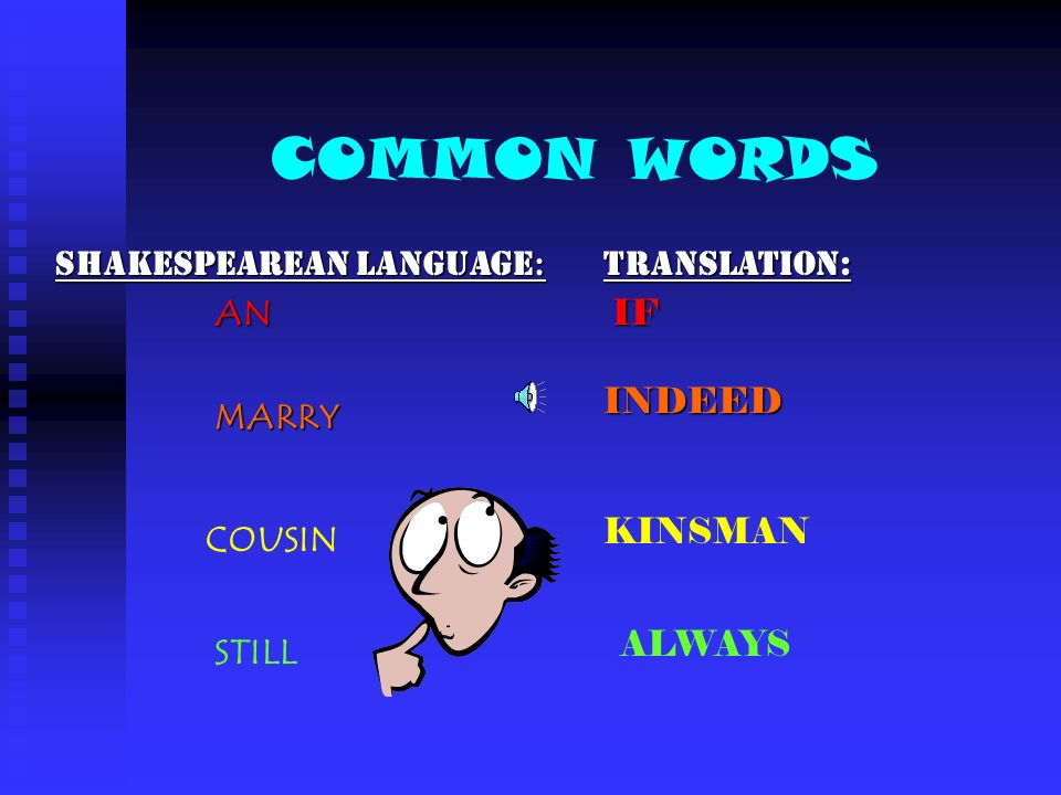 COMMON WORDS Shakespearean Language: AN Translation: IF MARRY INDEED