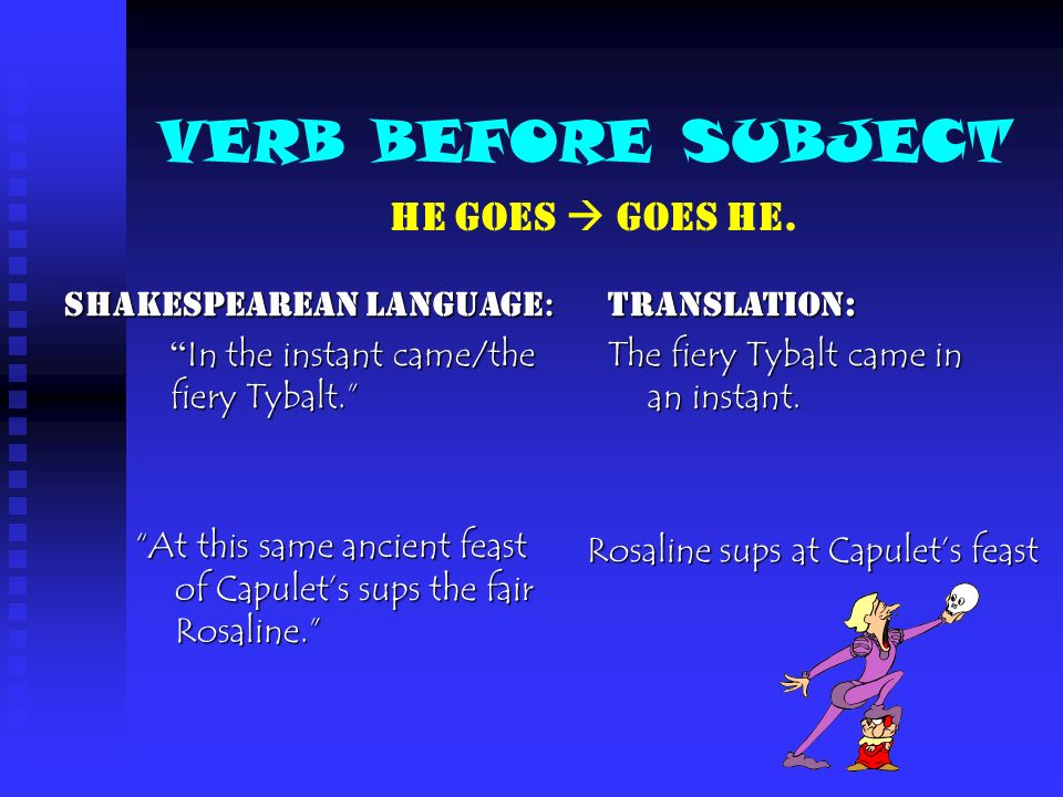 VERB BEFORE SUBJECT HE GOES  GOES HE. Shakespearean Language: