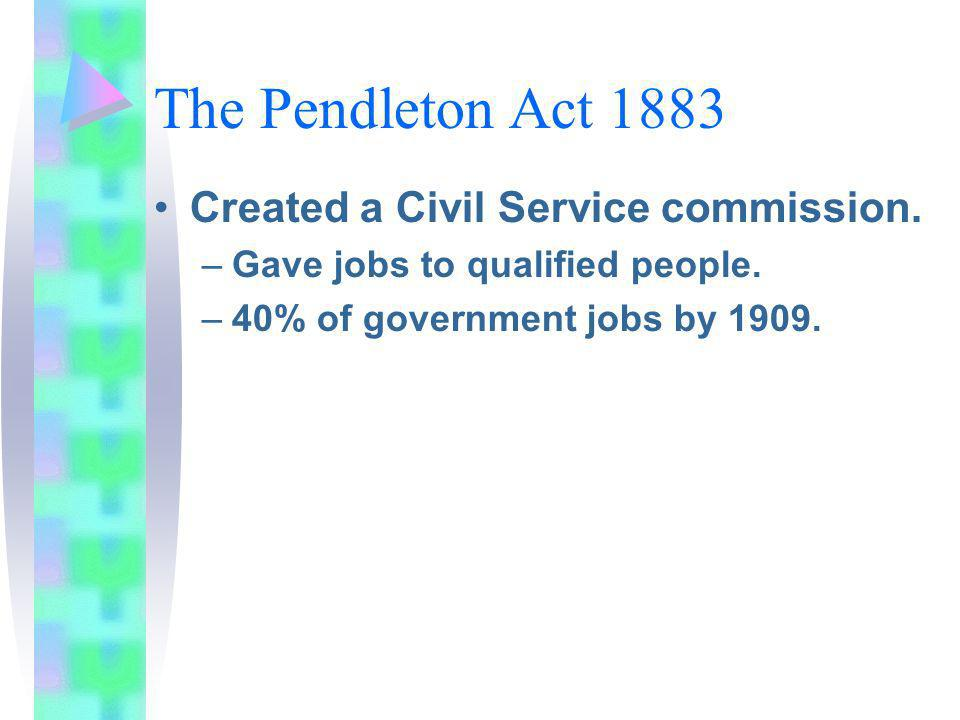 The Pendleton Act 1883 Created a Civil Service commission.