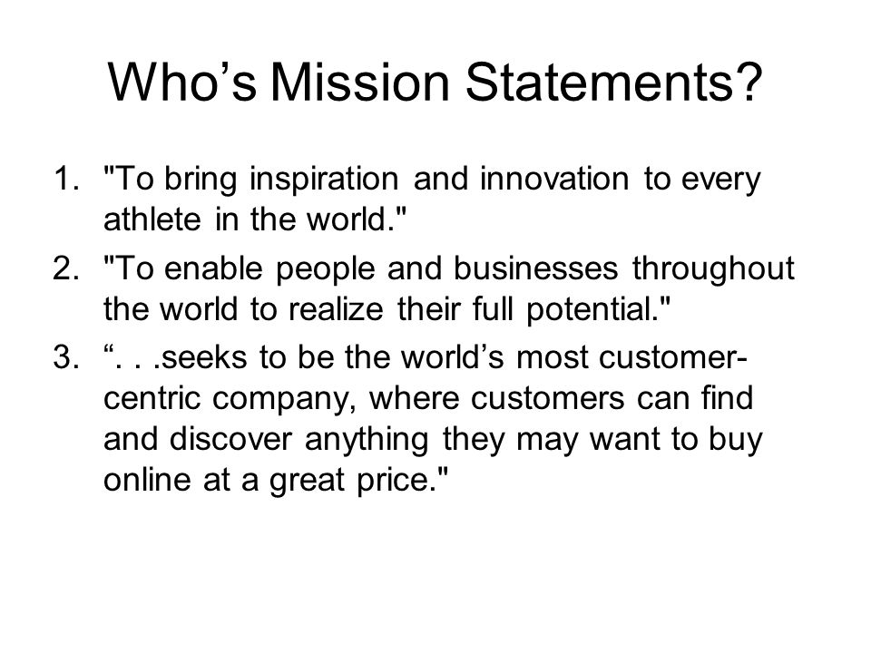 Who's Mission Statements