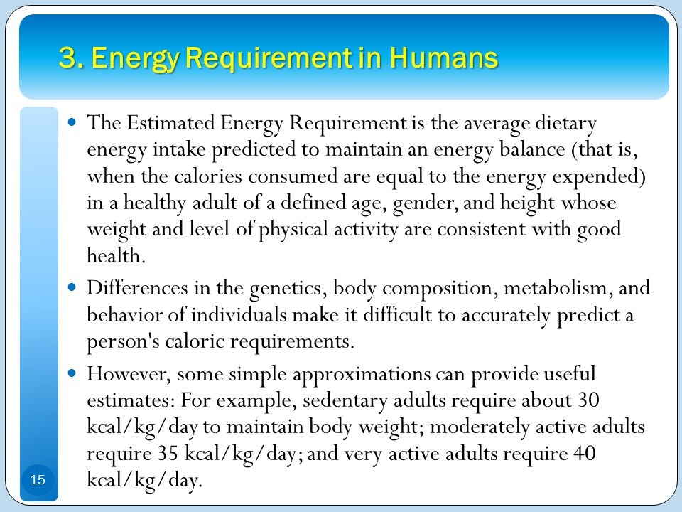 3. Energy Requirement in Humans