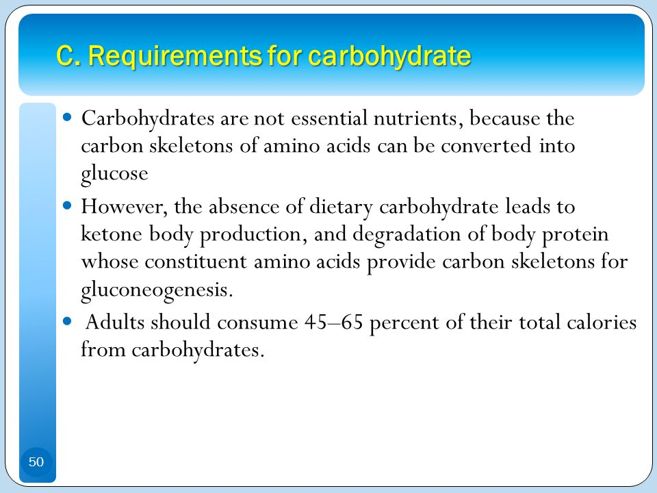 C. Requirements for carbohydrate