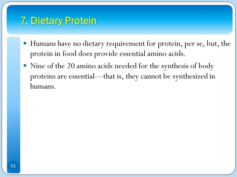 7. Dietary Protein Humans have no dietary requirement for protein, per se, but, the protein in food does provide essential amino acids.