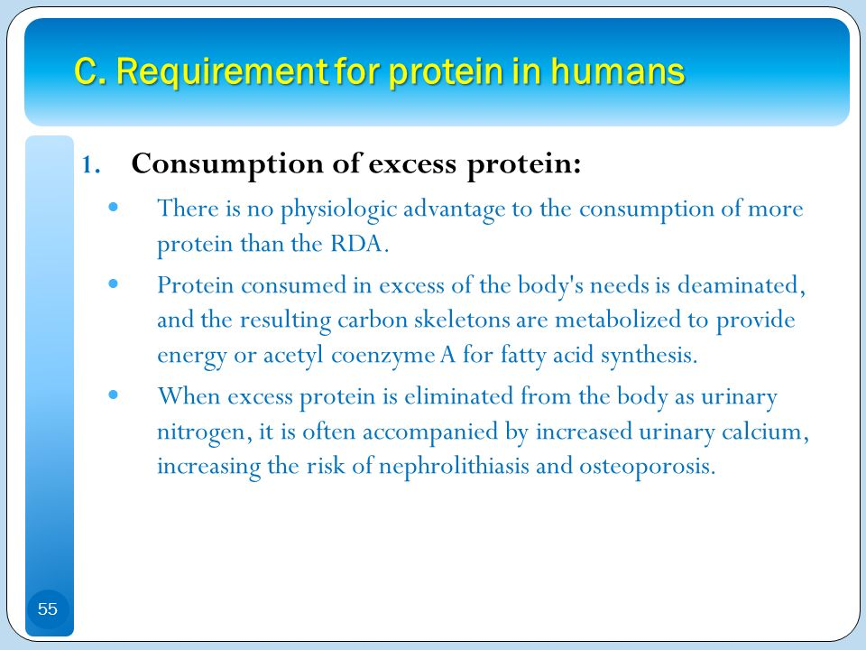 C. Requirement for protein in humans