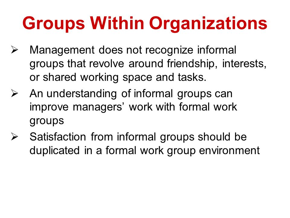 Groups Within Organizations