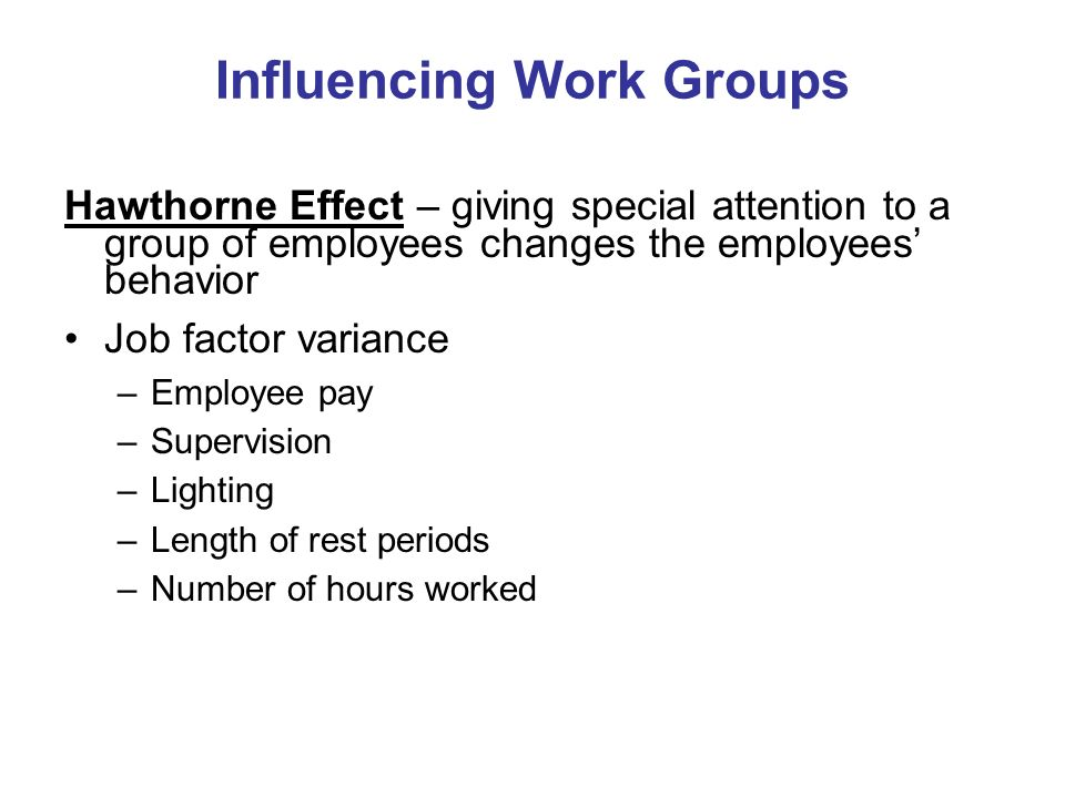 Influencing Work Groups
