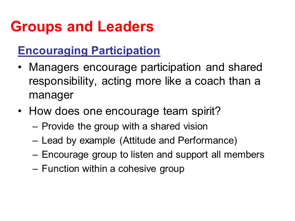 Groups and Leaders Encouraging Participation