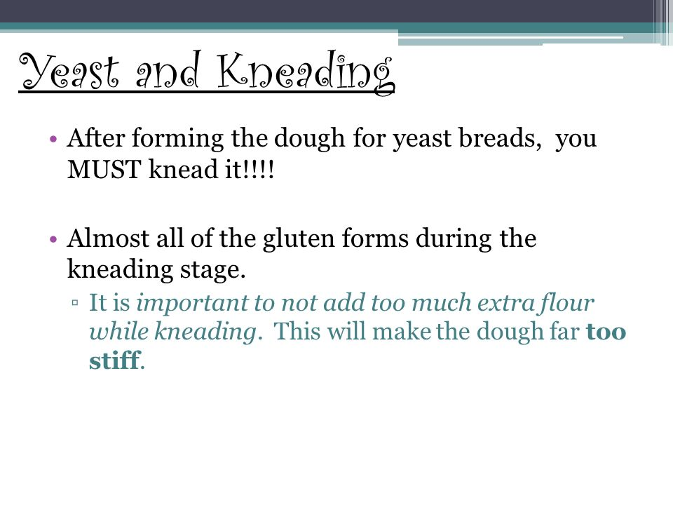 Yeast and Kneading After forming the dough for yeast breads, you MUST knead it!!!! Almost all of the gluten forms during the kneading stage.