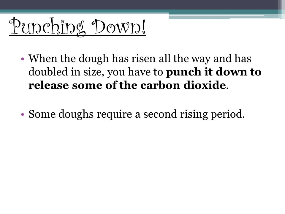 Punching Down! When the dough has risen all the way and has doubled in size, you have to punch it down to release some of the carbon dioxide.