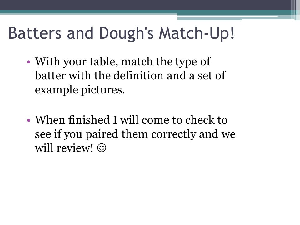 Batters and Dough s Match-Up!