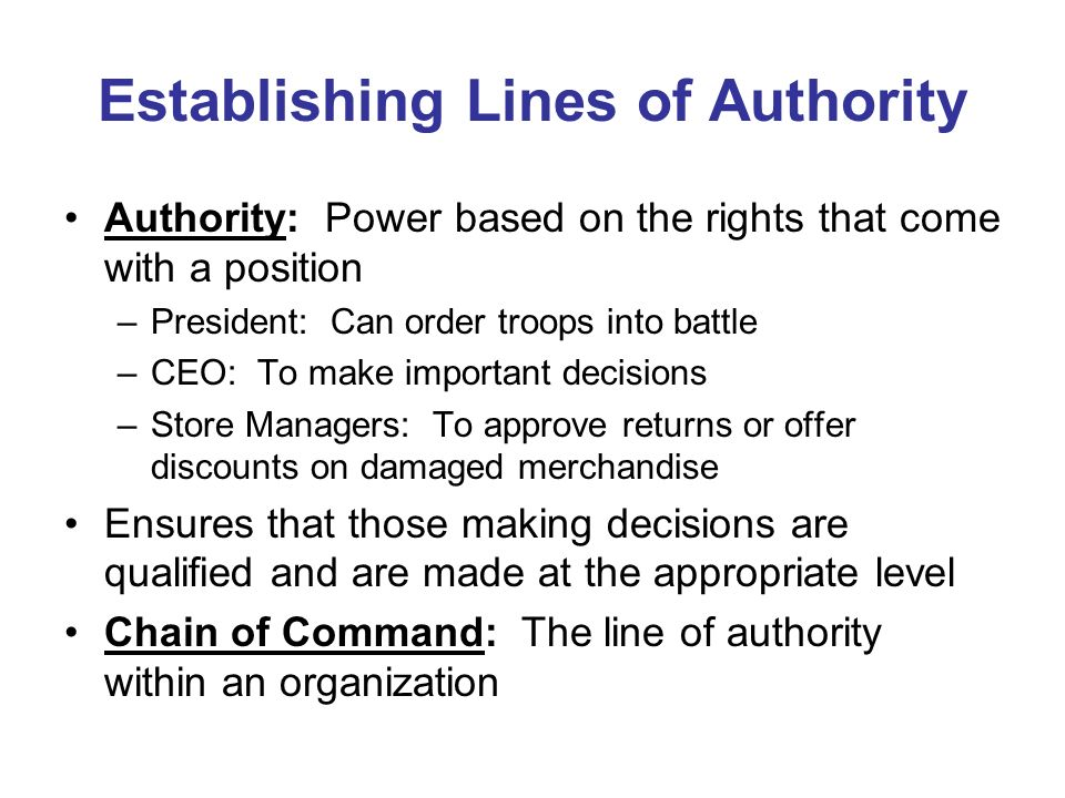 Establishing Lines of Authority