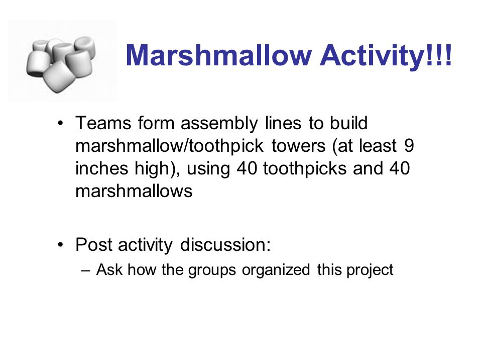 Marshmallow Activity!!!