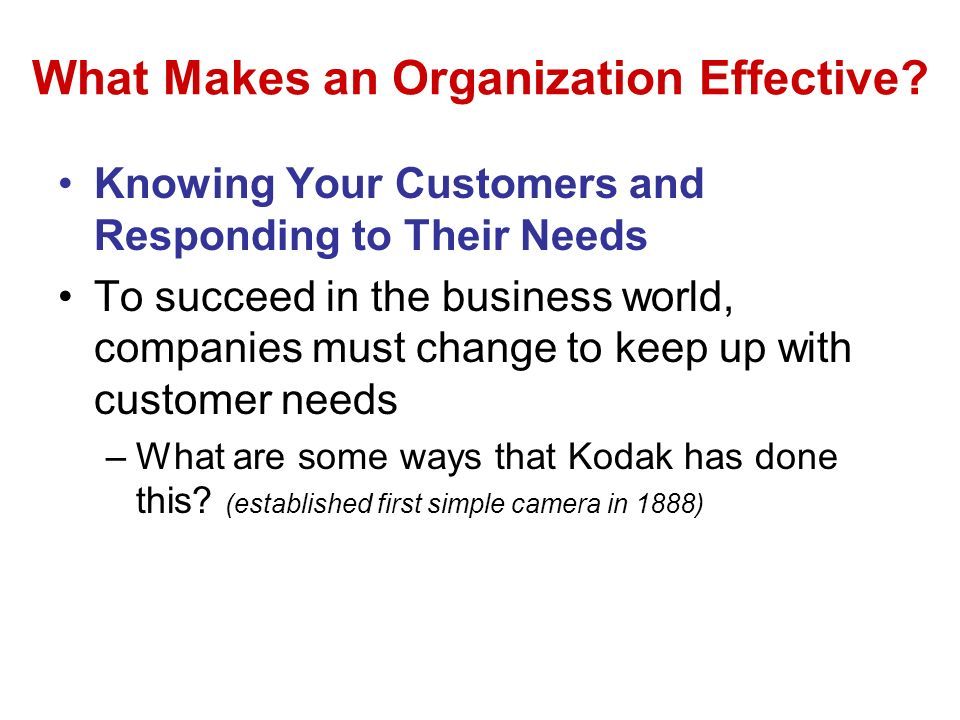 What Makes an Organization Effective