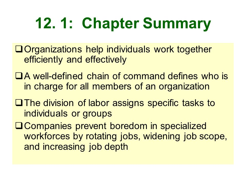 12. 1: Chapter Summary Organizations help individuals work together efficiently and effectively.