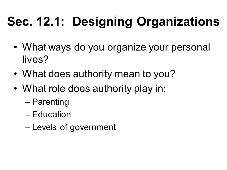 Sec. 12.1: Designing Organizations