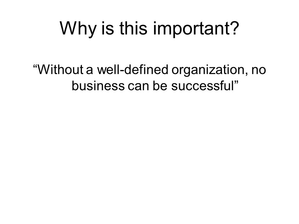 Without a well-defined organization, no business can be successful
