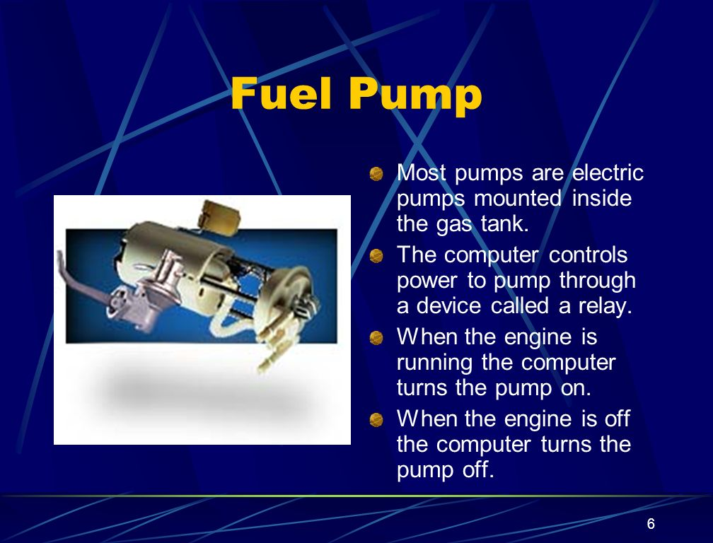 Fuel Pump Most pumps are electric pumps mounted inside the gas tank.