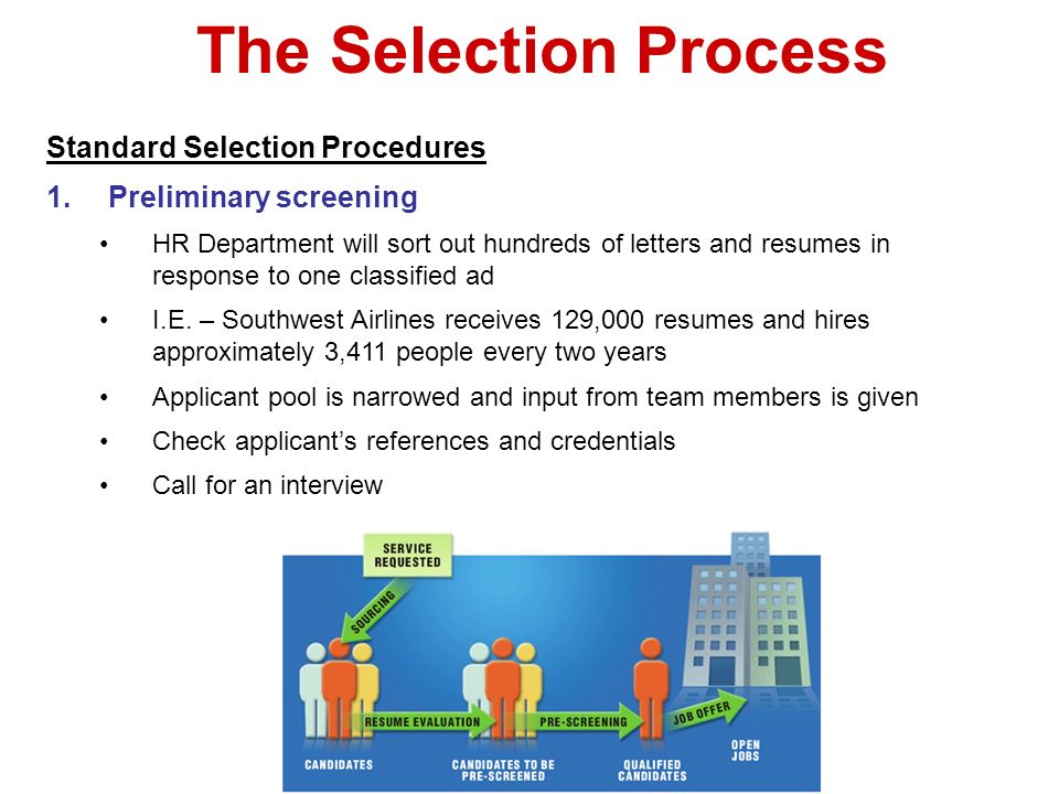 The Selection Process Standard Selection Procedures