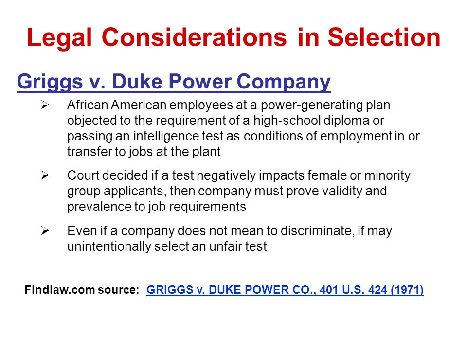griggs v duke Shaping employment discrimination law ultimately, the supreme court adopted the commission's position in the landmark decision, griggs v duke power co.
