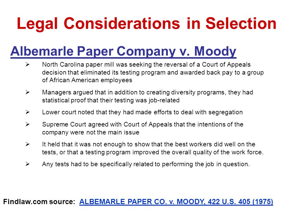 Legal Considerations in Selection