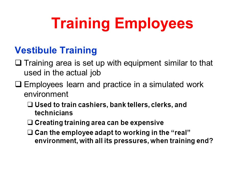 Training Employees Vestibule Training