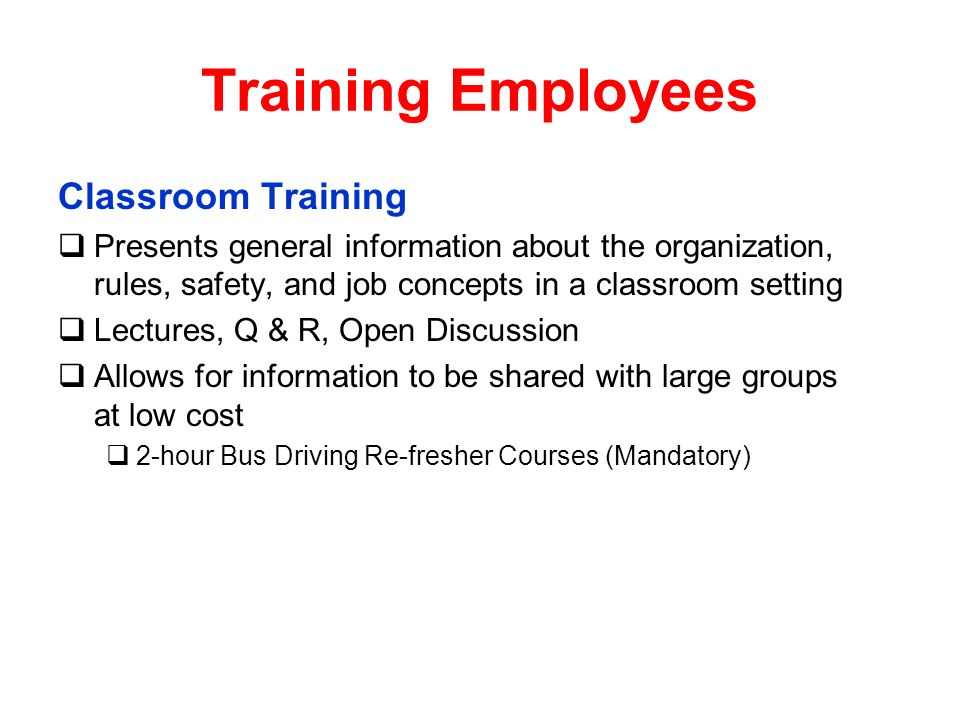 Training Employees Classroom Training